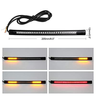 """LED Motorcycle Tail Light with Turn Signals, 48LED 8"""" Flexible Brake Stop License Plate Lights Integrated for Harley Davidson Motorcycle/Bike/ATV/RV/SUV(1xAmber Red): Automotive [5Bkhe1006936]"""