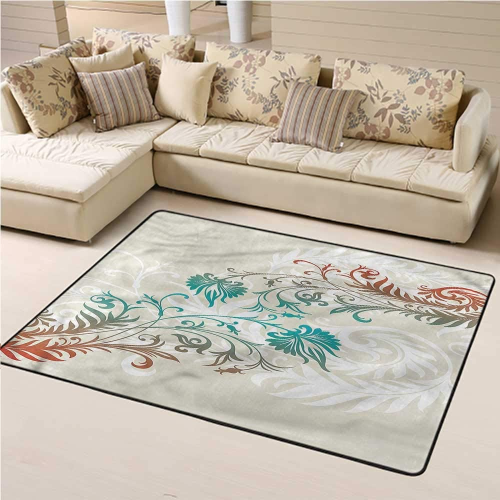 Outdoor Rug Floral Non-Slip Floor Mat Carpet Nature Leaves on Branches 3' x 5' Rectangle