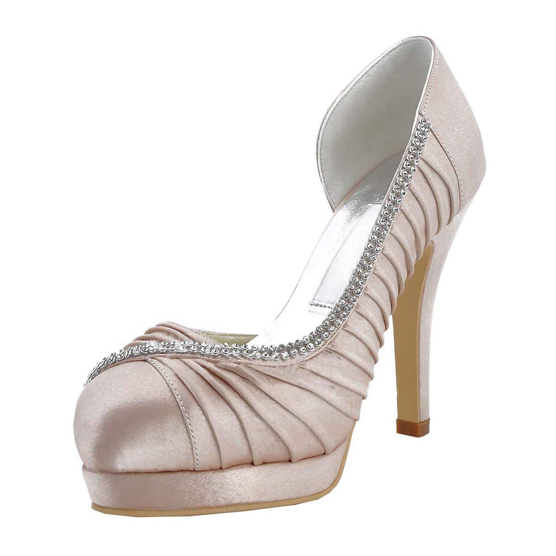 Qiusa damen MZ542 Plissee Champagner Satin Braut Hochzeit Abend Prom Pumps Schuhe UK 7 (Farbe   - Größe   -)
