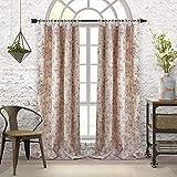 "cottage chic decor Elrene Home Fashions Annalise Floral Tie Top Room Darkening Linen Single Panel Window Curtain Drape, 52""x 84"" , Dusty Rose"