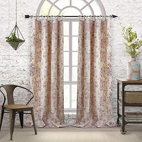 Elrene Home Fashions Annalise Floral Tie Top Room Darkening Linen Single Panel Window Curtain Drape, 52