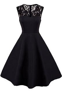 b9eb93e5626 MisShow Damen 50s Retro Rockabilly Vintage Kleid Rundausschnitt Ärmellos  Partykleid