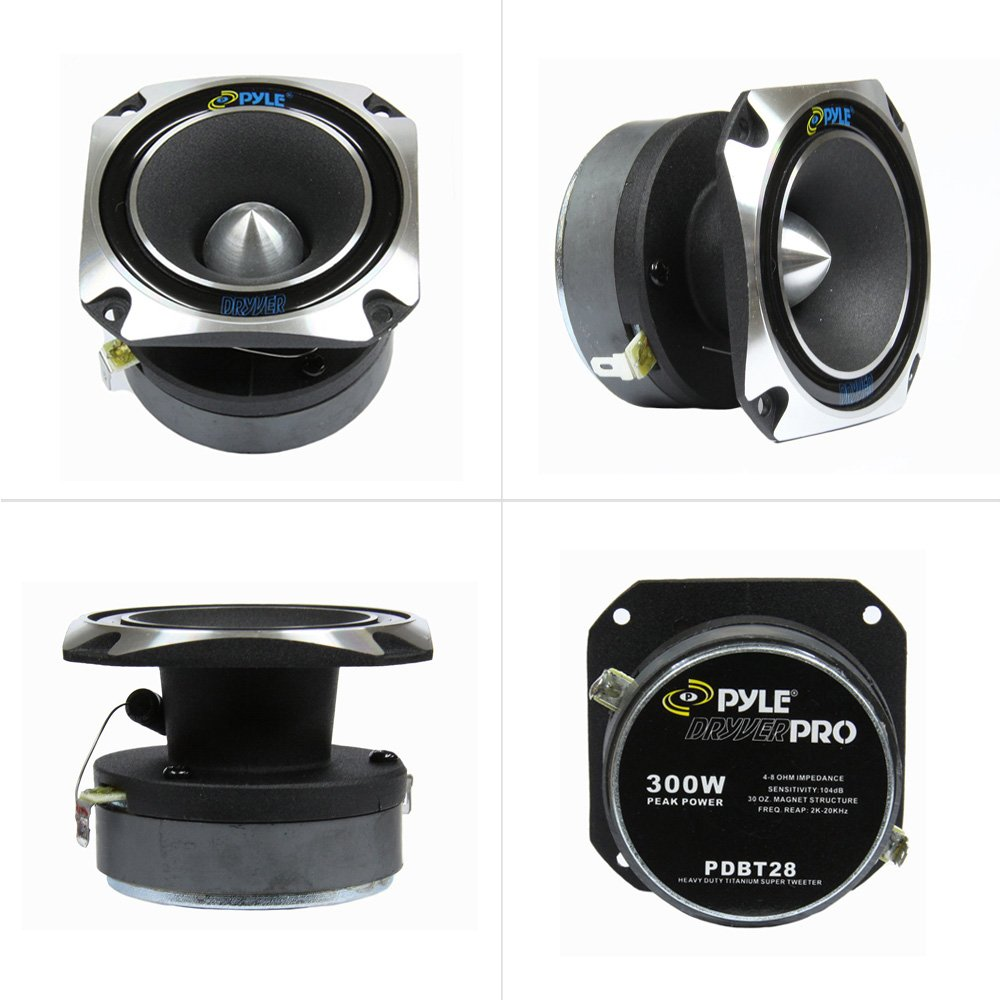 Pyle PDBT28 1 Car Audio Speaker Tweeter Magnet x 4in. 5in x 5in Black 30 oz 300 Watt High Power 1 Inch with Die Cast Aluminum Frame