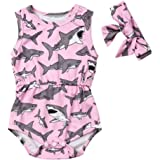 Infant Newborn Baby Girls Sleeveless Romper Shark Printed Bodysuit Jumpsuit with Headband Summer Outfit Clothes