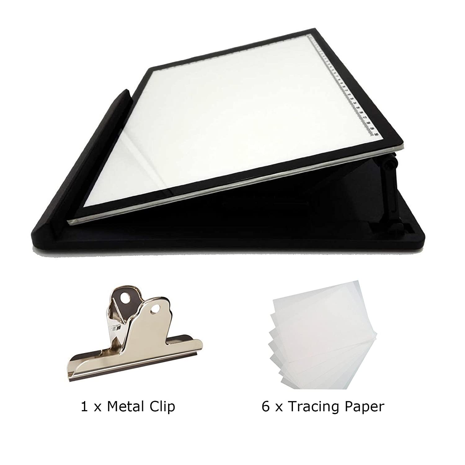 Huion 415X330mm LED Light Pad Ultra Thin Drawing Box Copy Tracing Stencil Tattoo Board Table with Multifunction Holder, Drawing Board Clip, 6PCS of Tracing Paper (A3 Holder)