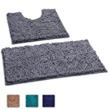LuxUrux 2 Piece Bath Mat Set –Extra-Soft Plush Bath Shower Bathroom Rug + U-Shaped Toilet Mat. 1'' Chenille Microfiber Material., TPR Surface, Super Absorbent. Machine Wash & Dry (DARK GRAY)