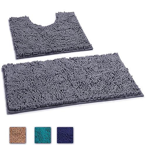 LuxUrux 2 Piece Bath Mat Set –Extra-Soft Plush Bath Shower Bathroom Rug + U-Shaped Toilet Mat. 1'' Chenille Microfiber Material., TPR Surface, Super Absorbent. Machine Wash & Dry (DARK GRAY)