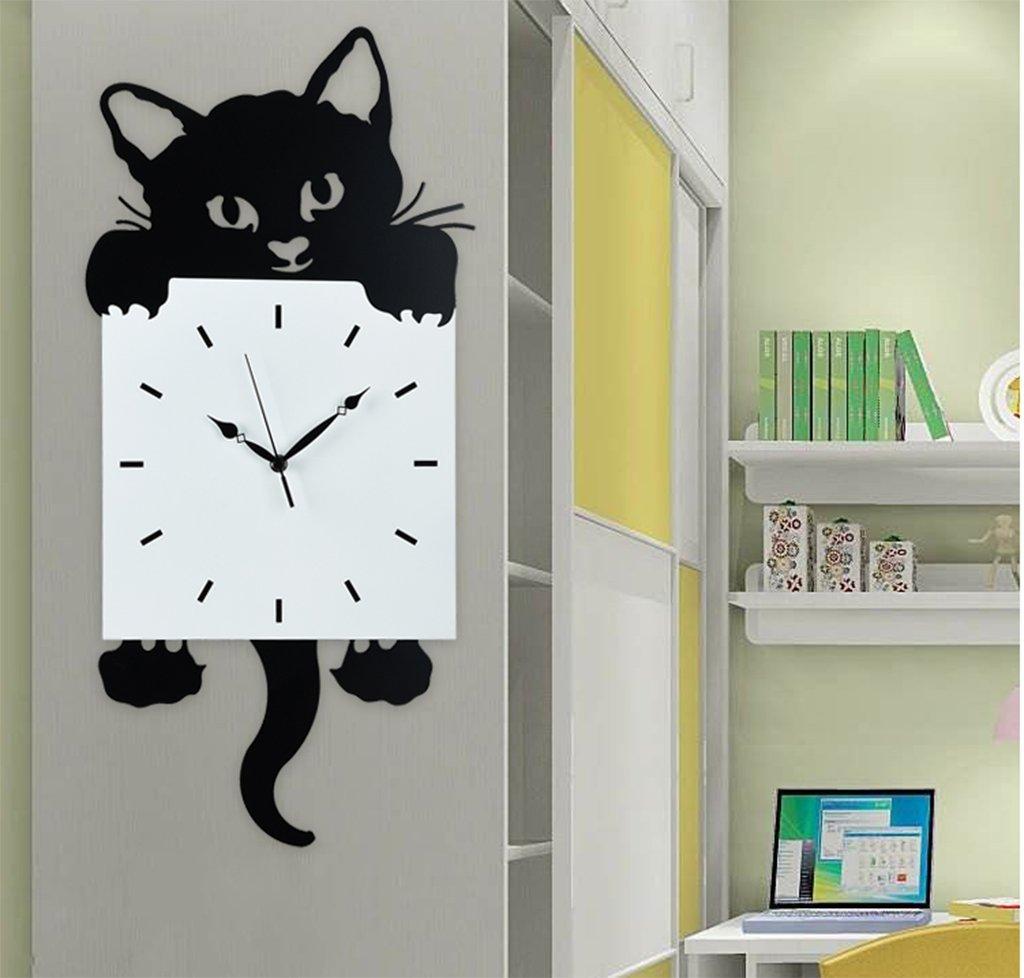漫画スタイルの壁時計、GZD簡単な素敵な猫モデルアイアンウォールクロックリビングルームミュート振り子時計、黒、電池なし,L B07DVF6CLQ Large Large