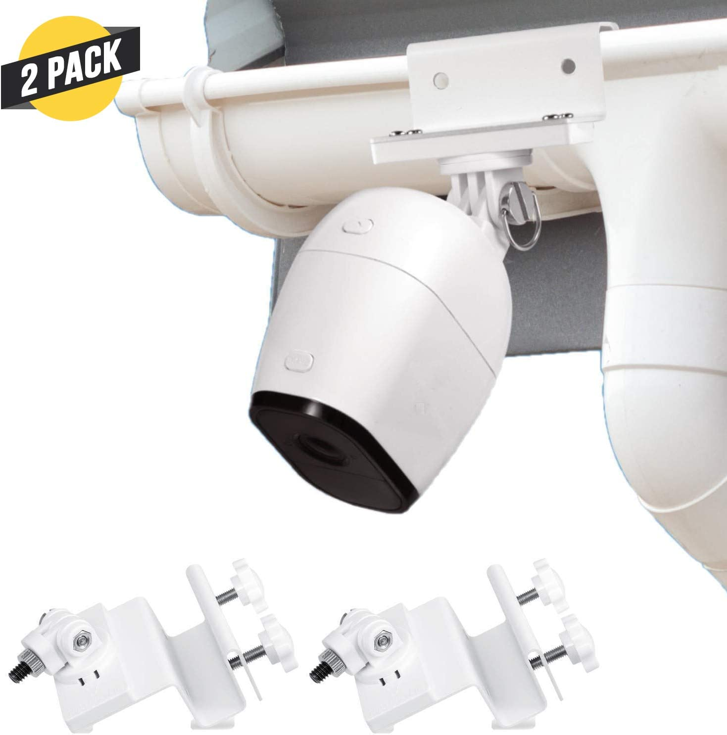 Wasserstein Weatherproof Gutter Mount Compatible with Arlo Ultra, Pro, Pro 2, Pro 3 & HD (2-Pack, White)
