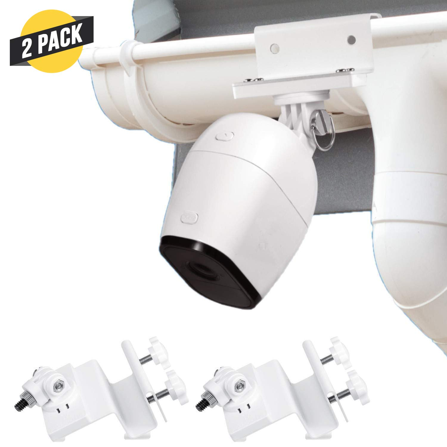 Wasserstein Weatherproof Gutter Mount Compatible with Arlo Ultra, Pro, Pro 2 & HD (2-Pack, White)