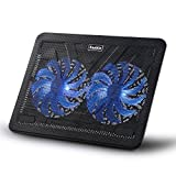 Vanble Dual USB Portable 15.6-17 Inches Laptop Cooling Pad with 160mm Blue LED Fans - Black