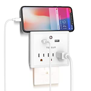 Multi Outlet Plug Extender with USB Wall Charger and Night Light, Cruise Ship Travel Power Strip with USB Outlet Splitter Adapter for Phone