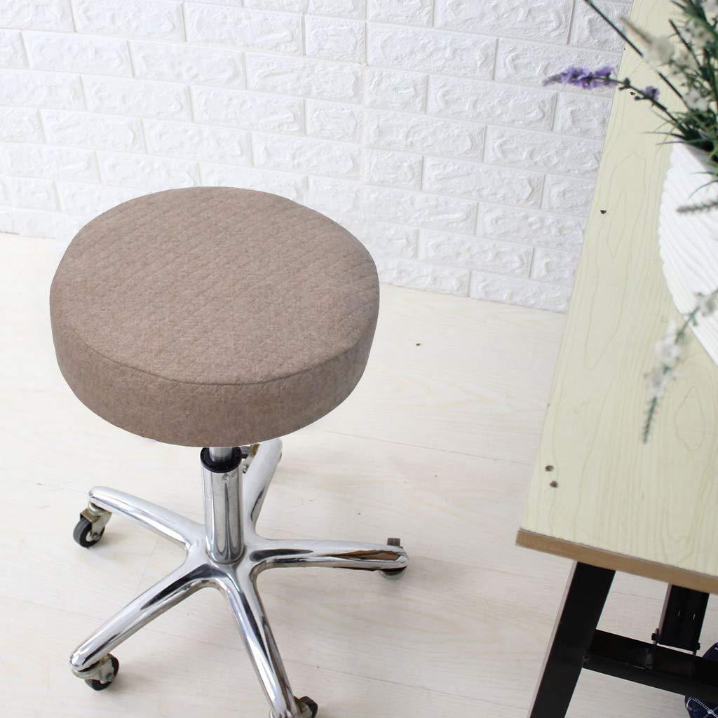 Homyl Breathable Linen Thick Round Swivel Bar Stool Cover, Edges Covering Design,Elastic 40cm - Beige