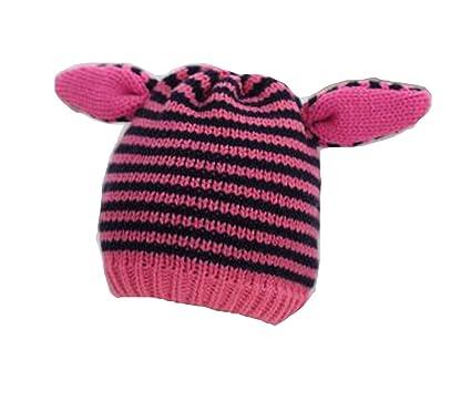 OHmais Automne Hiver lapin Bonnet de laine bébé oreilles chapeau tricot  rayure pour enfant bébé fille 7af52cbbbc1