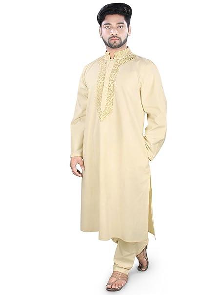 MyBatua Cream Kurta pijama de algodón para hombre del desgaste étnicos KP-006 (XS