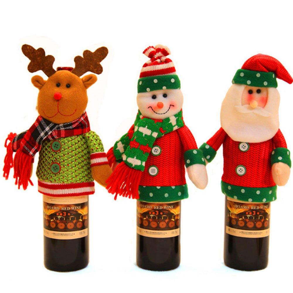 DOXUNGO 3pcs bottiglia copre Natale bottiglia di vino decorazione 19 * 24 cm per Natale, festa, Capodanno