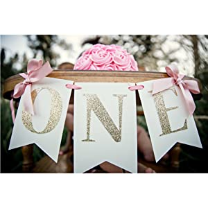 1st Birthday Baby Party Decoration High Chair Glitter Gold ONE Banner (4.8inch Ribbon Bow)