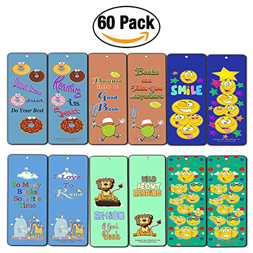 Creanoso Emoji Bookmarks Cards (60-Pack) - Smiley Face Emoticon Bookmarker - Books Reading Rewards Incentives For Kids Boys Girls Classroom Supplies - Stocking Stuffer (Reading Incentives)