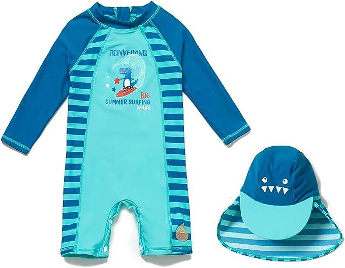 BONVERANO Boys Sunsuit//Swimsuit UPF 50 Sun Protection Swimwear Sets with Sun hat
