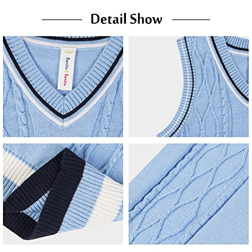 Benito & Benita Sweater Vest School Vest V-Neck Uniforms Cotton Cable-Knit Pullover for Boys/Girls 2-12Y Light Blue by Benito & Benita (Image #3)