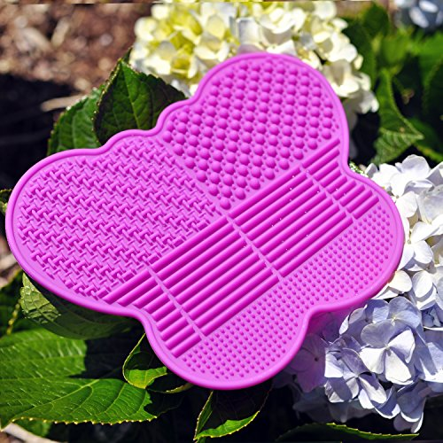 - # 1 Silicone Makeup Brush Cleaning Mat -Butterfly shape Scrubber - Portable Beauty Washing Tool to Extend the Use of Your Make up and Art Painting Brushes - Best Cleaner Pad ! (Pink)