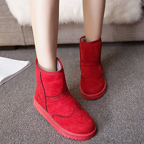 Winter Boots Bottomed Boots Anti Thick Plush Boots Flat Slip Boots AGECC gules Snow qxTZYpqE