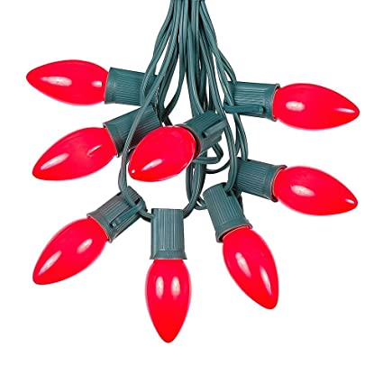 25 foot c9 red ceramic christmas string light set outdoor christmas light string christmas