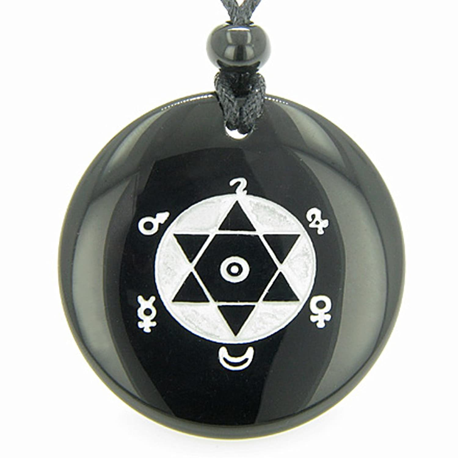 King solomon seal of success amulet black agate pendant necklace king solomon seal of success amulet black agate pendant necklace bestamulets amazon jewelry aloadofball Image collections