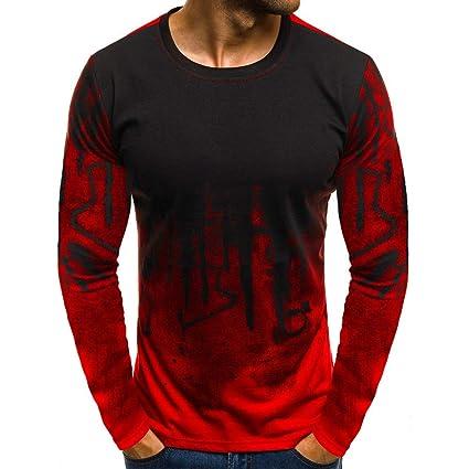 4385d1f8 Big Teresamoon Men Gradient Color Long-Sleeve Beefy Muscle Basic Solid Blouse  Tee Shirt Top