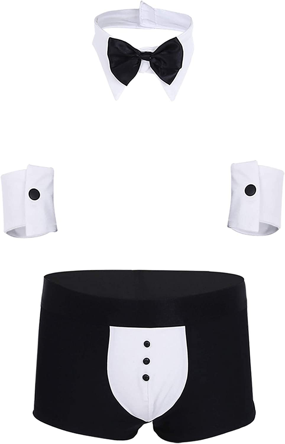 YOOJIA Mens Waiter Costume Outfits Tuxedo Collar Bow Tie G-String Thongs and Cuff Set Gentleman Nightwear