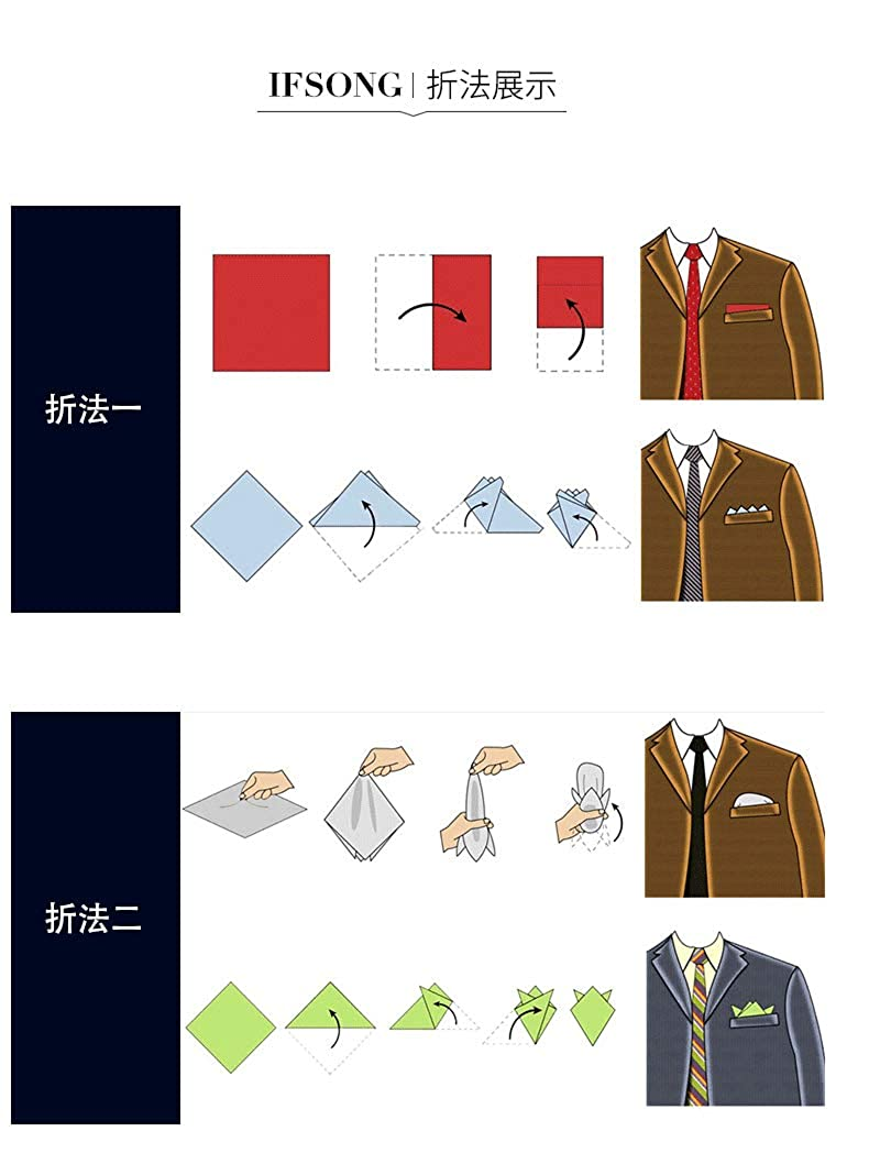 9.5 x 9.5 inch Mens Pocket Squares Cotton Striped Modern and Elegant Formal Suits Pocket Square