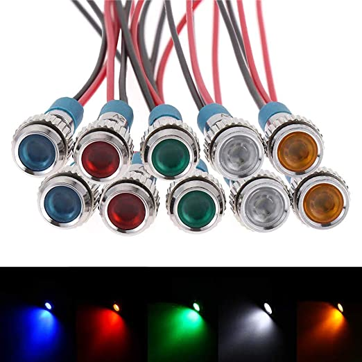 5 STÜCK LED Signallampe Signalleuchte Kontrollleuchte 12V 022 24V 8,2 mm