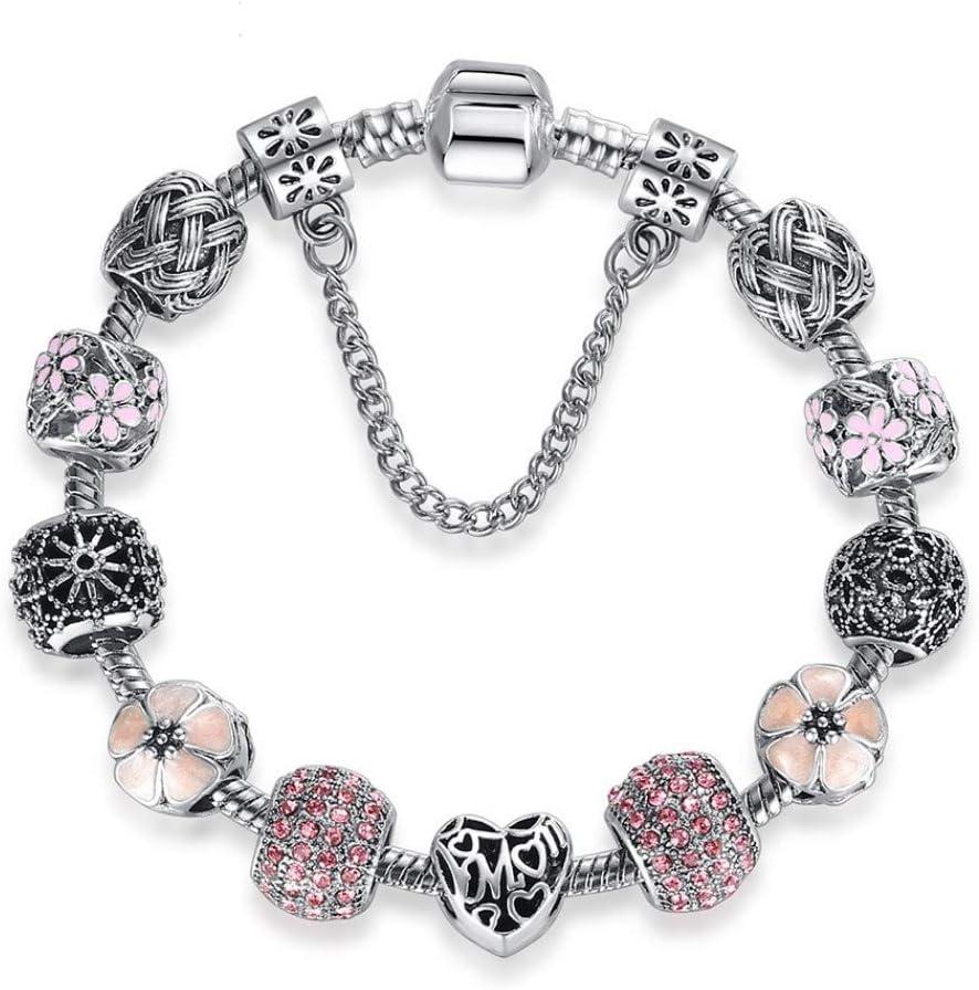 XIANNU Pulseras para Mujer,925 Esmalte Rosa Flor Pulsera Brazalete de Plata con Perlas de Cristal Encanto Pulseras para Mujeres DIY Bisutería