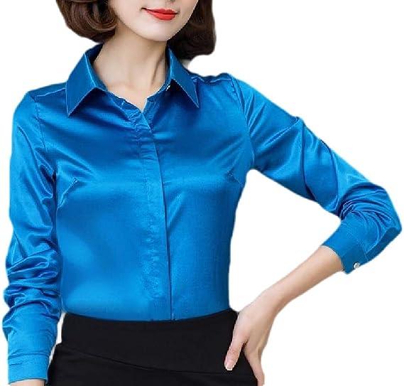 ShuangRun Blusa de satén Sedosa para Mujer, de Manga Larga, con Botones, para Trabajo 1 M: Amazon.es: Ropa y accesorios