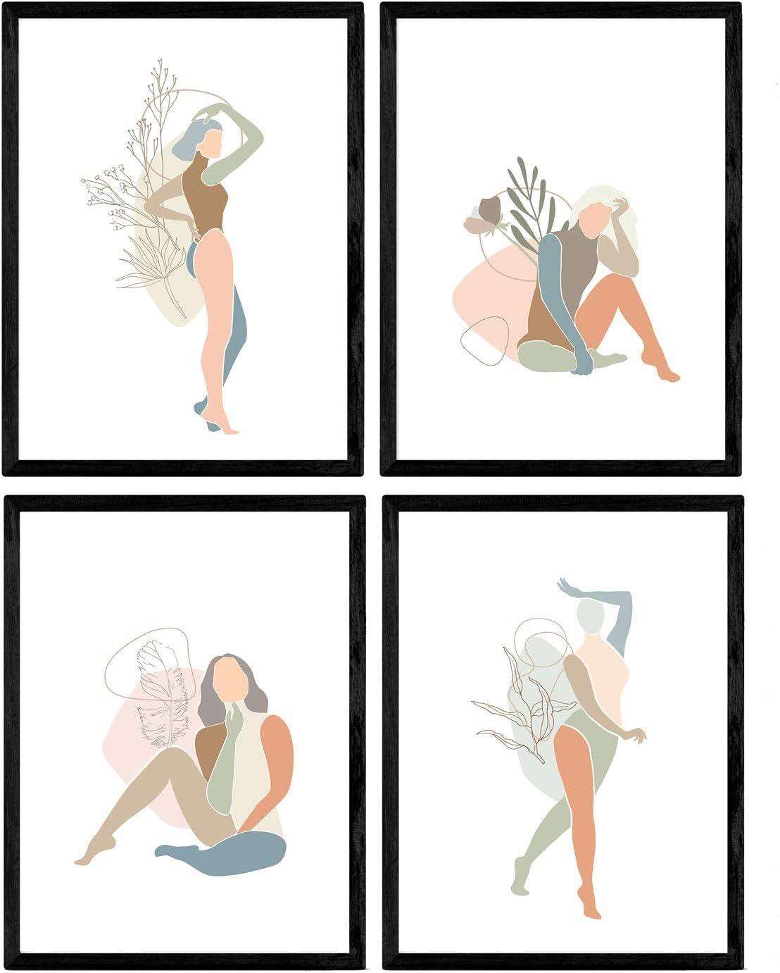 Nacnic Set of 1 - Unframed 8x11 inch Size - 250g Paper - Women Posing, Scandinvian Style, Free Spirited,Pink, Blue, Green Orange Gray, Olive Branch, Flower