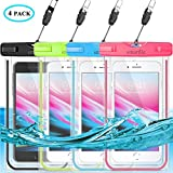 Waterproof Phone Pouch, Universal Waterproof Phone Case, Dry Bag Snowproof Outdoor for iPhone Xs Max/Xr/Xs/X/8/8 Plus/7/7Plus/6/6s Plus, Samsung Galaxy S10 S9+, Note, MOTO, up to 6.5'',Luminous-4 Pack