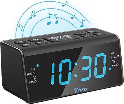 [Nouvelle Version] Rétro Radio Réveil, Tinzzi Radio réveil numérique FM AM avec Fonction de Veilleuse, Réveil LED numérique avec écran LED 4,3