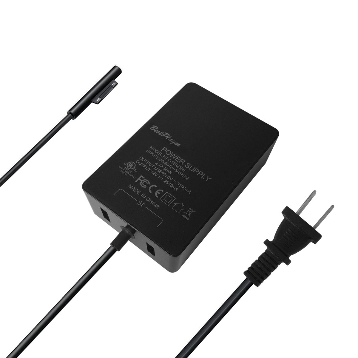 [UL Listed] Surface Pro 3 Pro 4 Charger, BestPlayer Surface Power Supply Adapter 36W 12V 2.58A Charger with 8.2 Ft Power Cord/2-Port USB for Microsoft Surface Pro 3 Pro 4 i5 i7 Tablet by BestPlayer (Image #7)