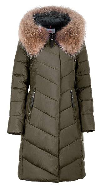 best cheap 208a8 2fefd Grimada 827 Damen Wintermantel Jacke lang mit Echtfellbesatz an der Kapuze  (Länge ca. 100 cm)