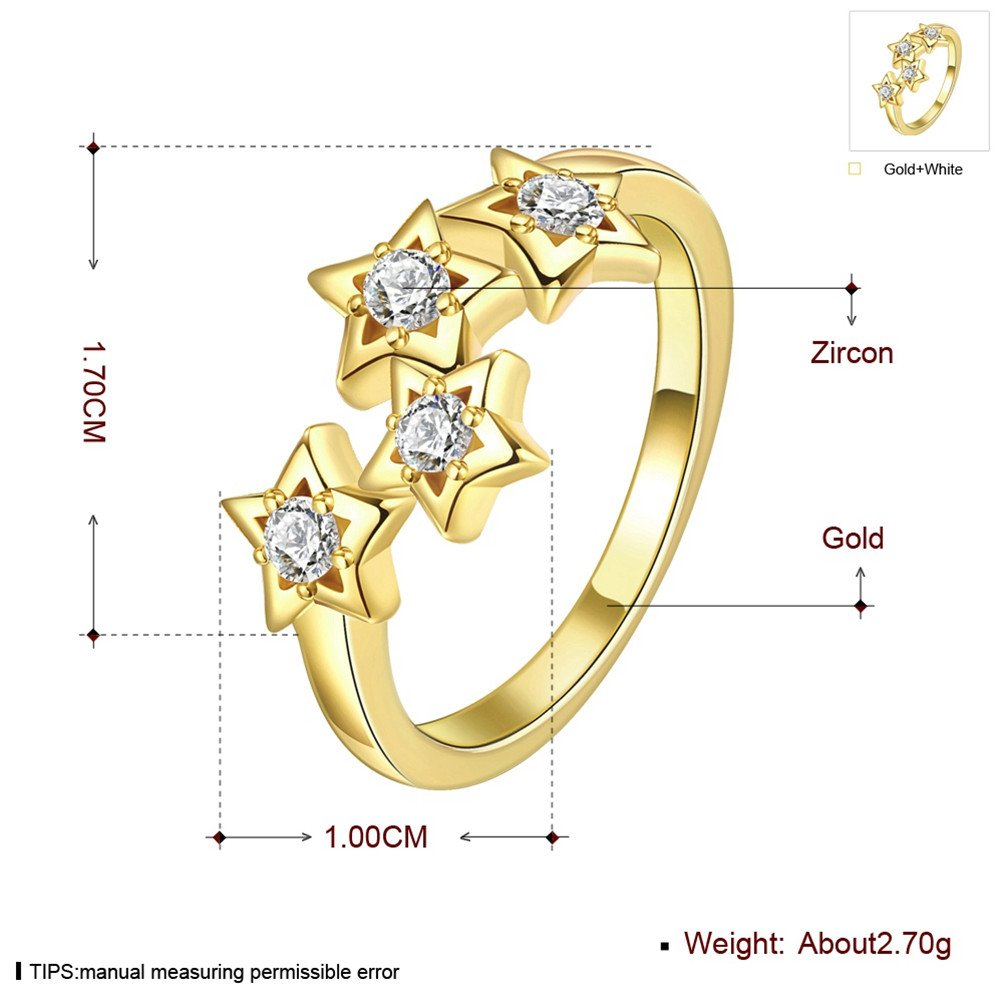 Mrsrui Star Crystal Statement Ring Gold Plated Jewelry Gift for Girls Austrian Crystal by Mrsrui (Image #3)