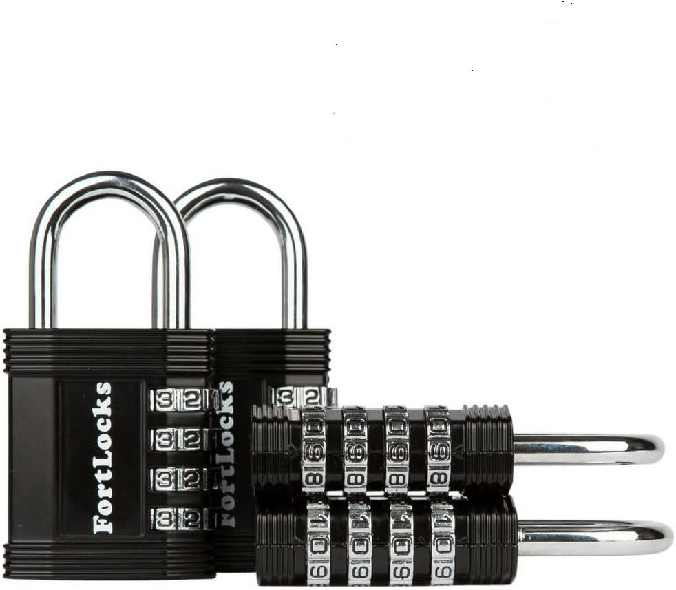 FortLocks Padlock - 4 Digit Combination Lock for Gym Outdoor & School Locker, Fence, Case & Shed – Heavy Duty Resettable Set Your Own Combo – Waterproof & Weatherproof (4 Pack - Black)