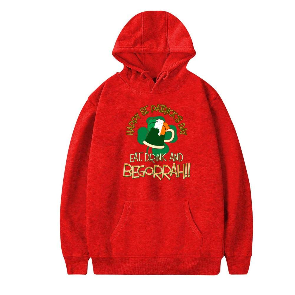 Happy St Patricks Day,Eat,Drink /& Be-Gorr-ah Warm and Casual Printed Thicken with Pocket Sweatshirt L Red Hyejizn Mens Hoodies