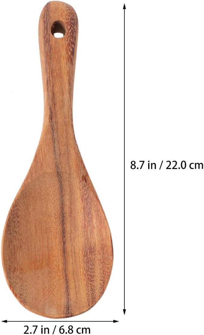 Hemoton 1 Pcs Wooden Rice Spoon Handcraft Serving Spoon Cooking Spoon Paddle Scoop for Restaurant Home
