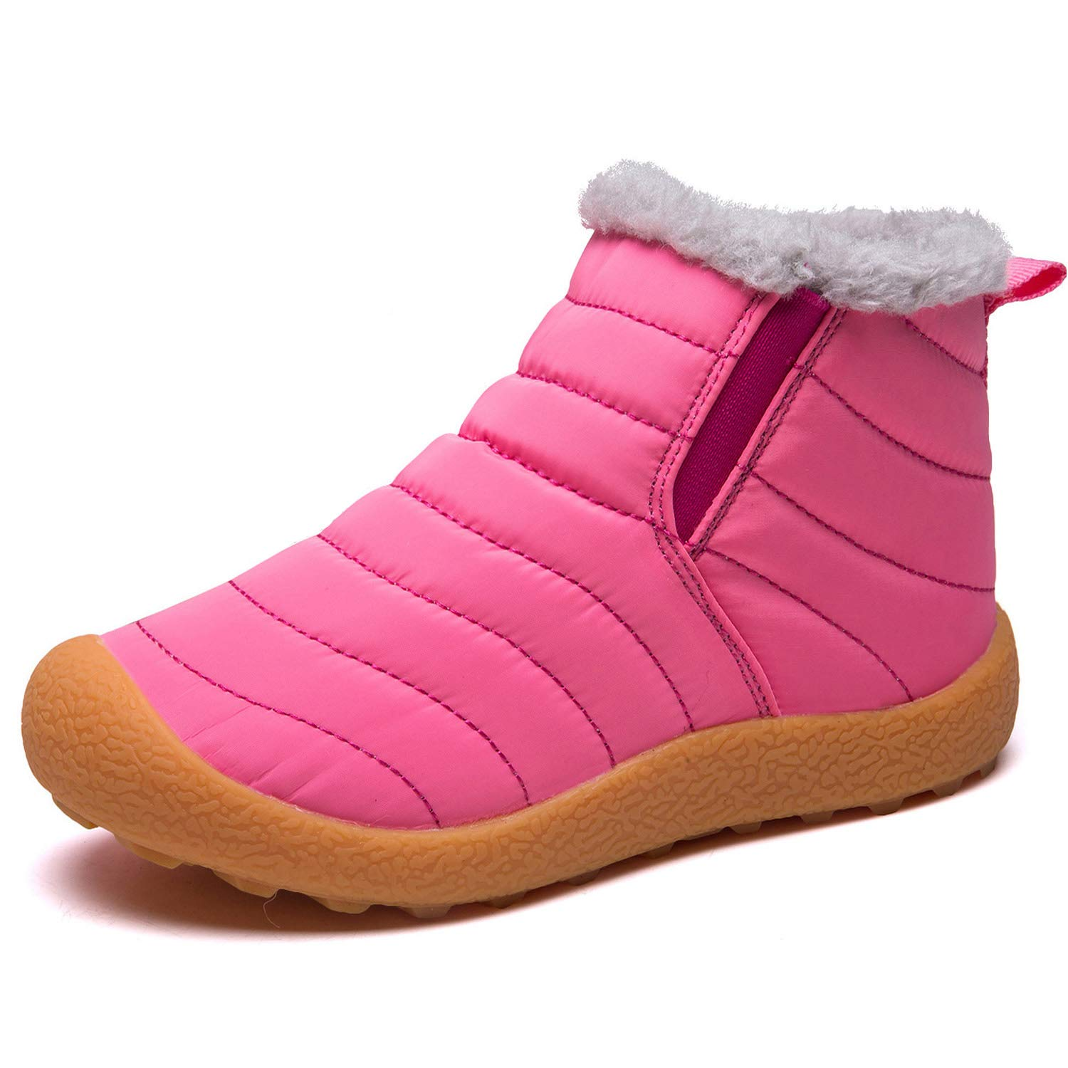 LINGTOM Kid's Waterproof Winter Boots Snow Sneakers Boots Lace up Shoes with Fur Lining, Pink 2 Little Kid