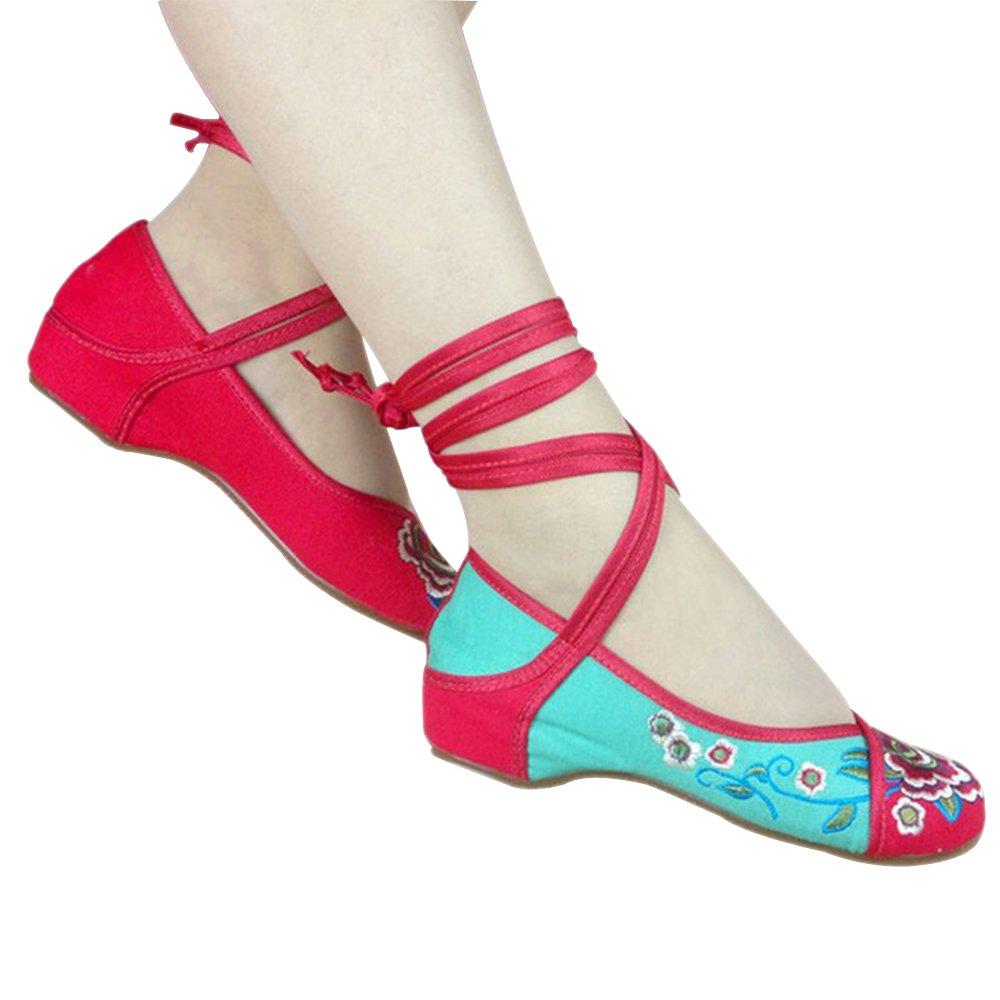 BOZEVON Damen Mary Jane Schuhe Riemchen Sandalen mit Keilabsatz Blumenmuster Aufdruck mit mittlerm Absatz Schuhe Rot Schwarz Grün  39EU(Innere L?nge: 25cm)|Rot-Stil B