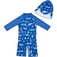 upandfast Kids One Piece Zip Sunsuit with Sun Hat UPF 50+ Sun Protection Baby Beach Swimsuit