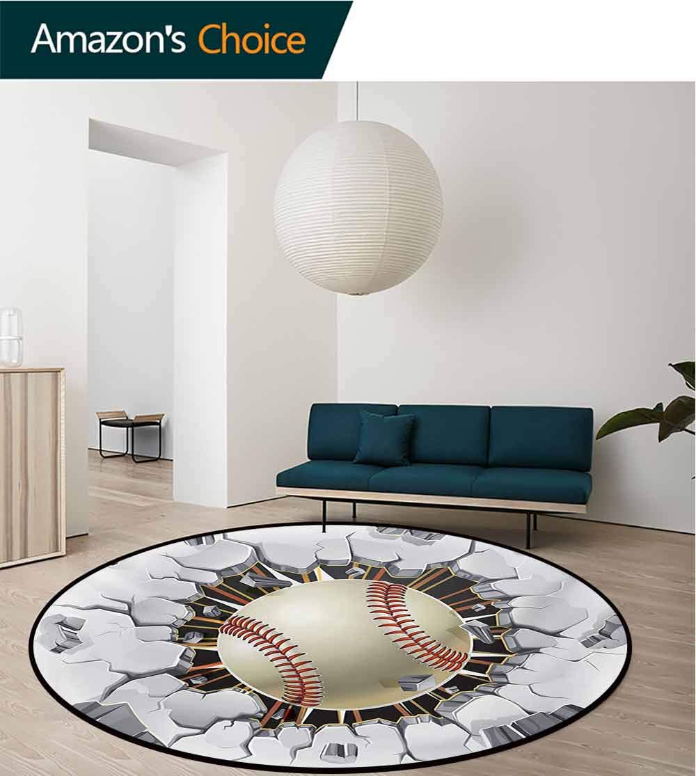 RUGSMAT Sports Non-Slip Area Rug Pad Round,Baseball and Old Plaster Concrete Wall Damage Illustration Competition Protect Floors While Securing Rug Making Vacuuming,Diameter-71 Inch