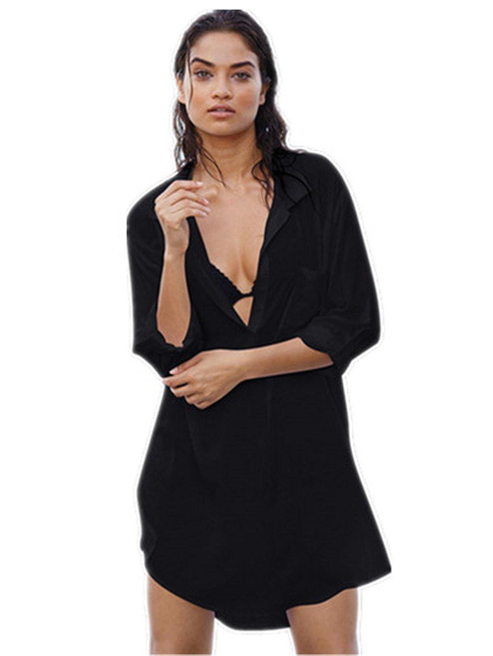 Black SUZALA Women Bikini Cover up Cotton Beach Shirt Dress Swimsuit Bathing Suit