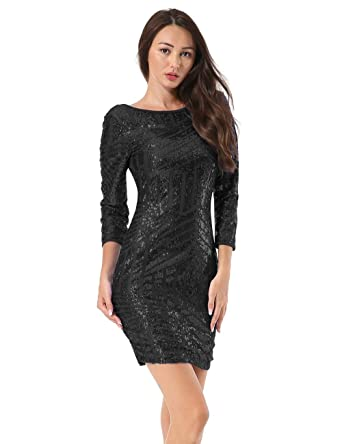 6e46eb79de38 Hiistandd Women Dress Party Dress Bodycon Dress Sequin Glitter Mini Dress  Round Neck Backless Solid Color Stretchy Club Dress: Amazon.co.uk: Clothing