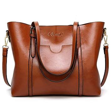 bff0a0e5ed7e01 BestoU Damen Handtasche Leder Tasche Shopper Damen Handtaschen Groß Schule Schultertasche  Frauen Umhängetasche (Braun)
